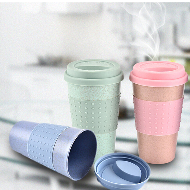 Natural Wheat Straw Husk Drinking Mug With Silicone Lid Office Anti Hot Milk Coffee