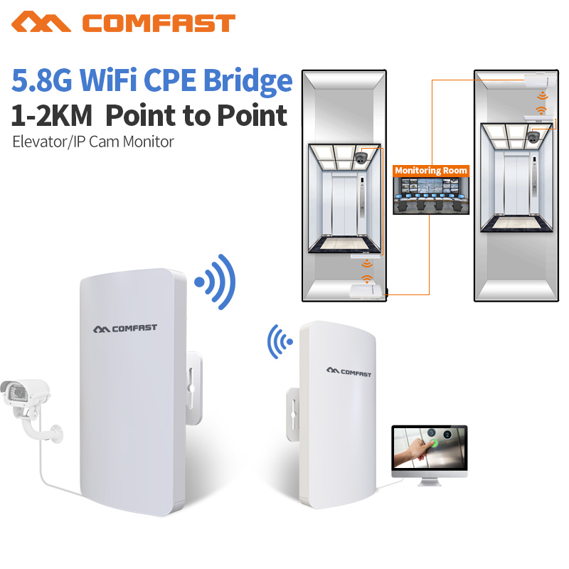 2pc 1-2KM 2017 Comfast 300Mbps 5.8Ghz outdoor Access Point 11dBi WI-FI Antenna wireless bridge CF-E120 WIFI CPE Nanostation wifI 2 4g 3dbi wi fi antenna black