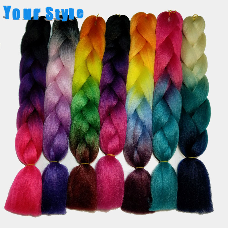 Your Style 24'' 100g/pc 90 Colors Ombre  Braiding Hair Synthetic Jumbo Crochet Braids Color Hair Extensions Blue Black Brown