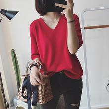 Yiwa Women Undershirts Solid Color V Collar Half Sleeve Simple Shirts Shirt Ladies Tops Plus Size Breathable Wear Resistant