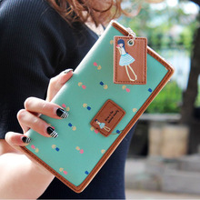 2016 New Leather Famous Design Lovely Printing Women Wallet,Long Draw-out Type Female Wallet Clutch Purses carteira feminina