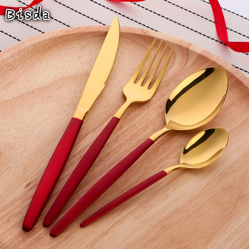 4 Pcs/Set Elegant China Red Table Gold Cutlery Set Stainless Steel Dinnerware Flatware Knife Fork Spoon Set Kitchen Utensils