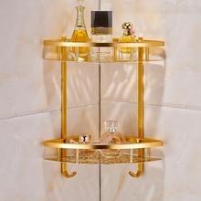 Bathroom Gold Shelf Shower Caddy Space Aluminum Wall Mounted Corner Basket Shampoo Storage etagere salle de bain murale repisa