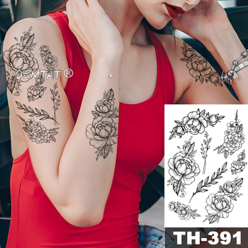 Pink Peony Rose Flower Waterproof Temporary Tattoo Sticker Black Tatto Body Art Big Arm Hand Girl Women Fake Tatoo 3