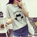 2016 ropa para mujeres camisas corto carácter o-cuello de algodón femininas camisetas tee shirt femme poleras de mujer femenina de La Camiseta