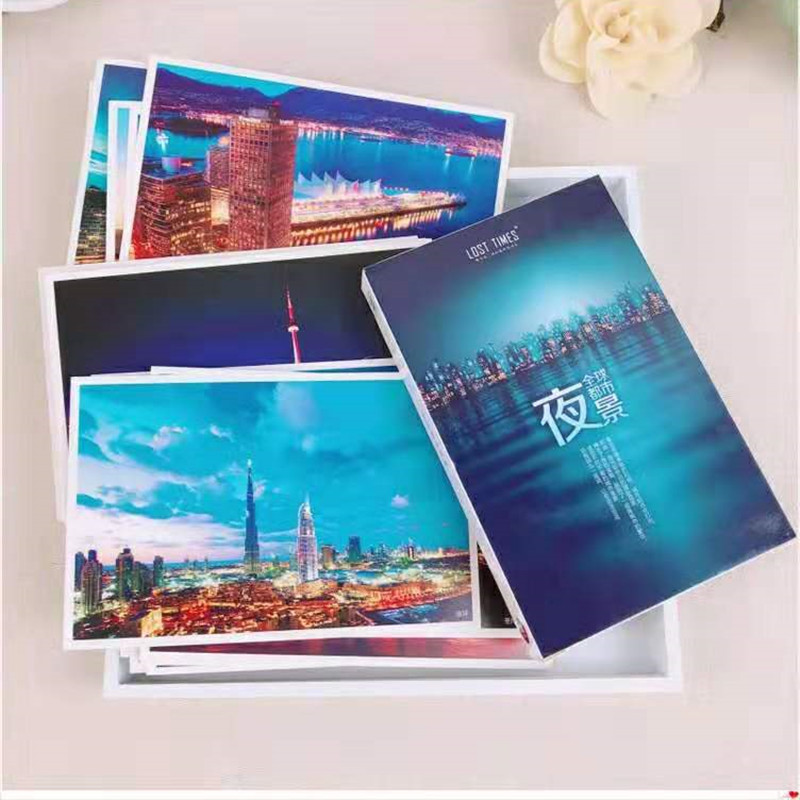Night Scene Natural Scenery Collection Playing Card Paper Card 30 Pieces Cartoon Card City Out Of Print Post Card