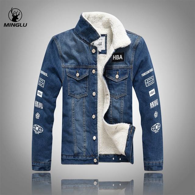 luxury man casual slim fit denim jeans men winter denim jacket men