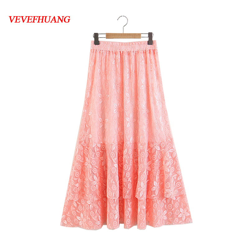 Female Vintage Solid Long Skirts Women High Waist Casual Print Embroidery Skirt Feminine Bodycon Clothing Plus Size XXL 3 Color