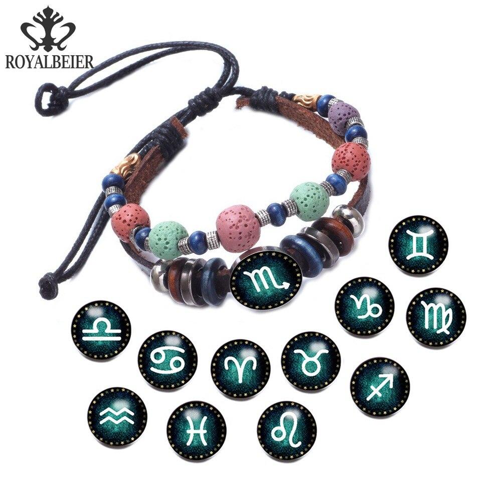 Женские и мужские браслеты RoyalBeier, регулируемые браслеты с разноцветными бусинами, 12 созвездий, 18 мм, на кнопках, ювелирные изделия