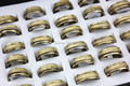 Wholesale 36pcs Stainless Steel Rings Opal Cat Eye Bands Ring Men Women's Gift Mix Sizes MR43