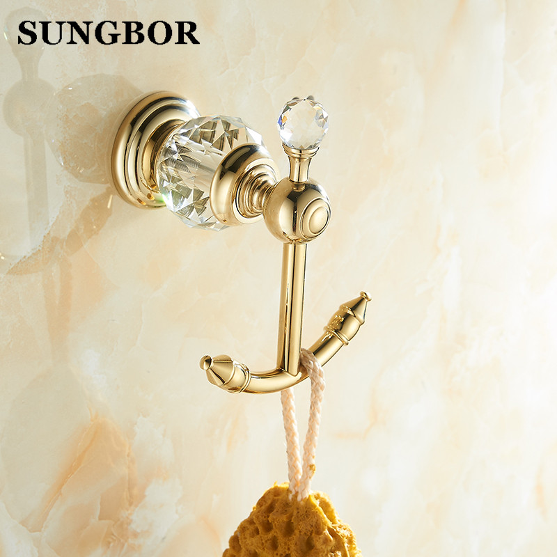 Luxury style luxury crystal brass gold robe hook bathroom hangings gold towel rack clothes hook home decoration bathroom -99901K цена 2017