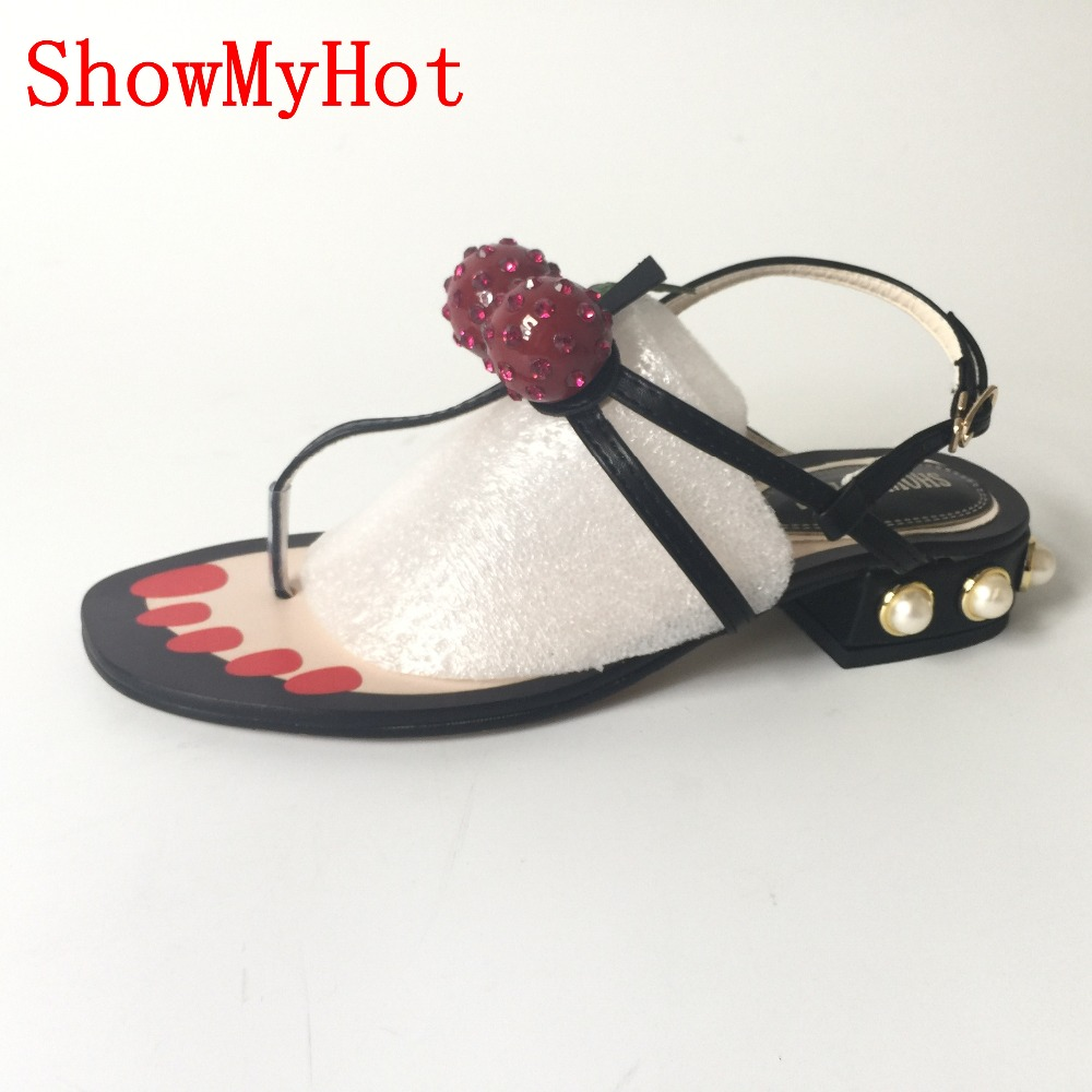 190382391a167 ShowMyHot Women summer Black Studs Stone Studded Strappy Thong Sandals  Ladies Summer Gladiator Buckle Strap Flat sandals