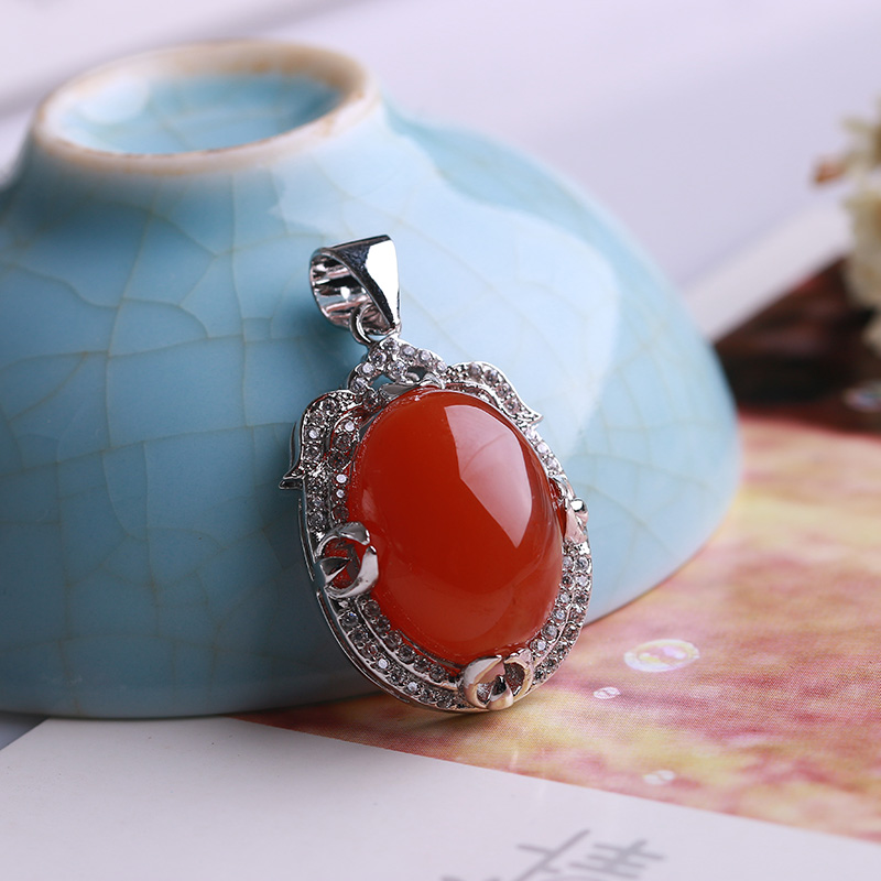 best natural southern red Pendant 925 luxurious silver inlay work delicate cherry red jelly material southern Red River
