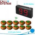 Restaurante K-302 exibição pager caller sistema 1 pc receptor com 10 campainha sino para equipamentos de restauração