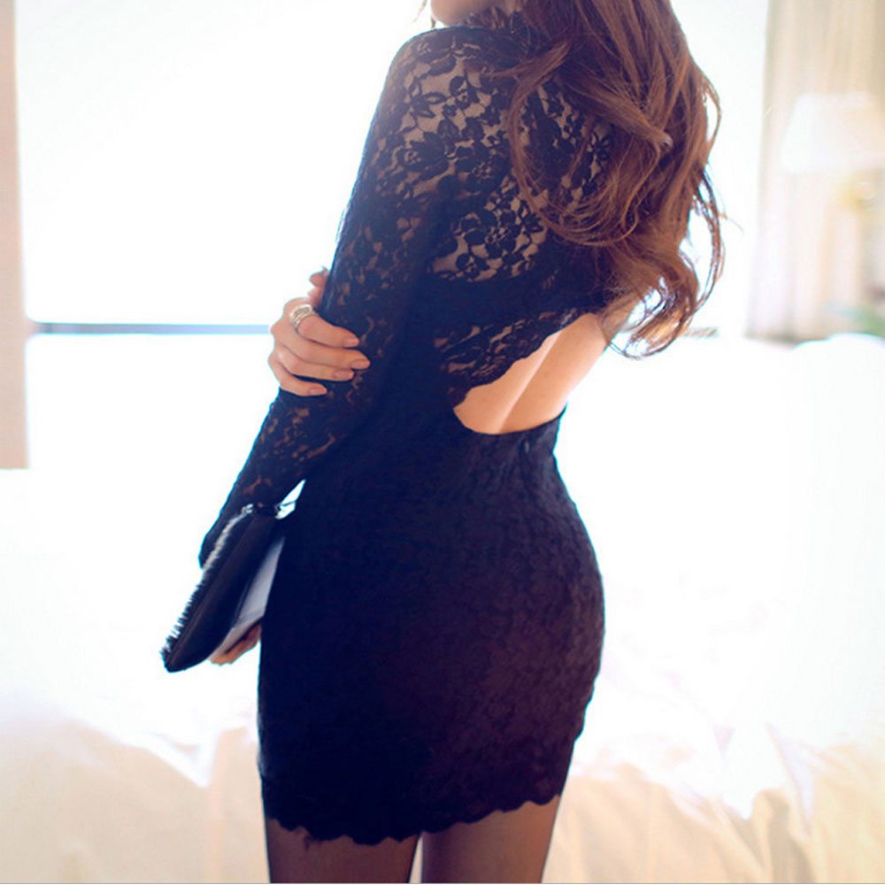 Autumn Dress 2018 Women Casual Lace O Neck Short Dress Black Lace Long Sleeve Backless Mini Dress Sexy Party Dresses Vestidos