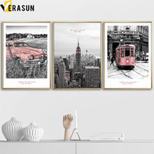 Pink Car Tram Empire State Building Landscape Wall Art Canvas Painting Nordic Posters And Prints Pictures For Living Room