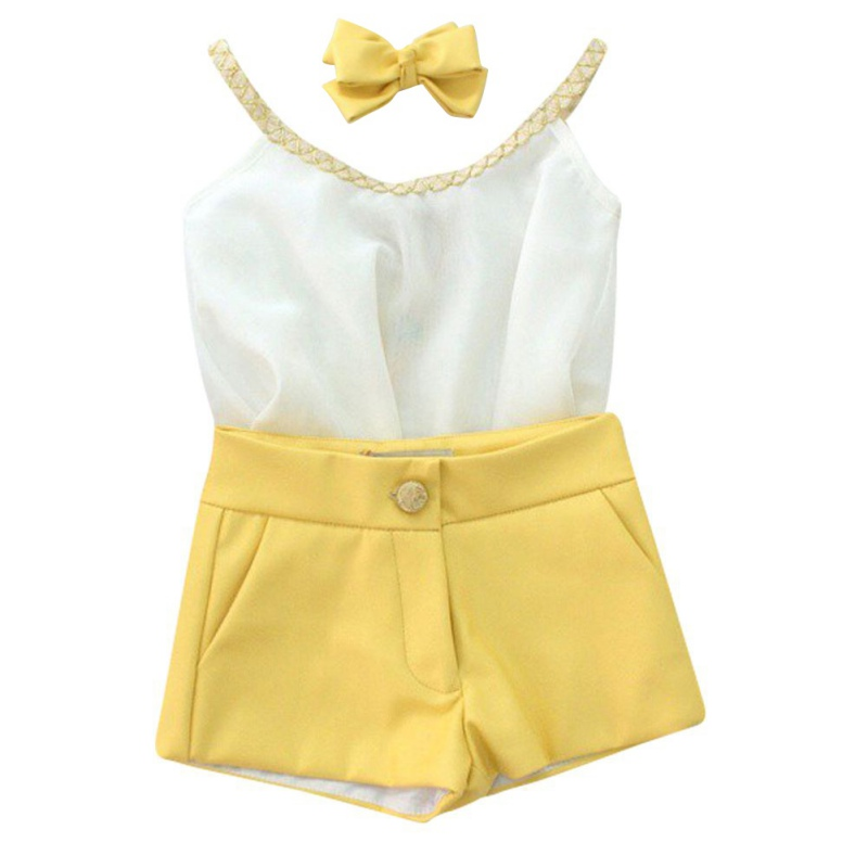 Summer Style Fashion Cute Children Clothing Baby Girls Clothes Sleeveless Sling Chiffon Vest + Shorts Kids Clothing Set baby girls summer clothing girls july 4th anchored in god s word shorts clothes kids anchor clothing with accessories