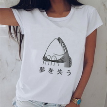 Japanese Style Useless Fish Lose Dreams Print T-shirt Womens O-neck Short Sleeve Funny Tee Tops Summer Harajuku Otaku Tshirts