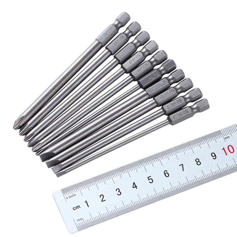 10Pcs Set 100Mm Alloy Steel S2 Slotted Phillips Screwdriver Bits Straight Cross Head Batches Screwdriver Set in Screwdriver from Tools