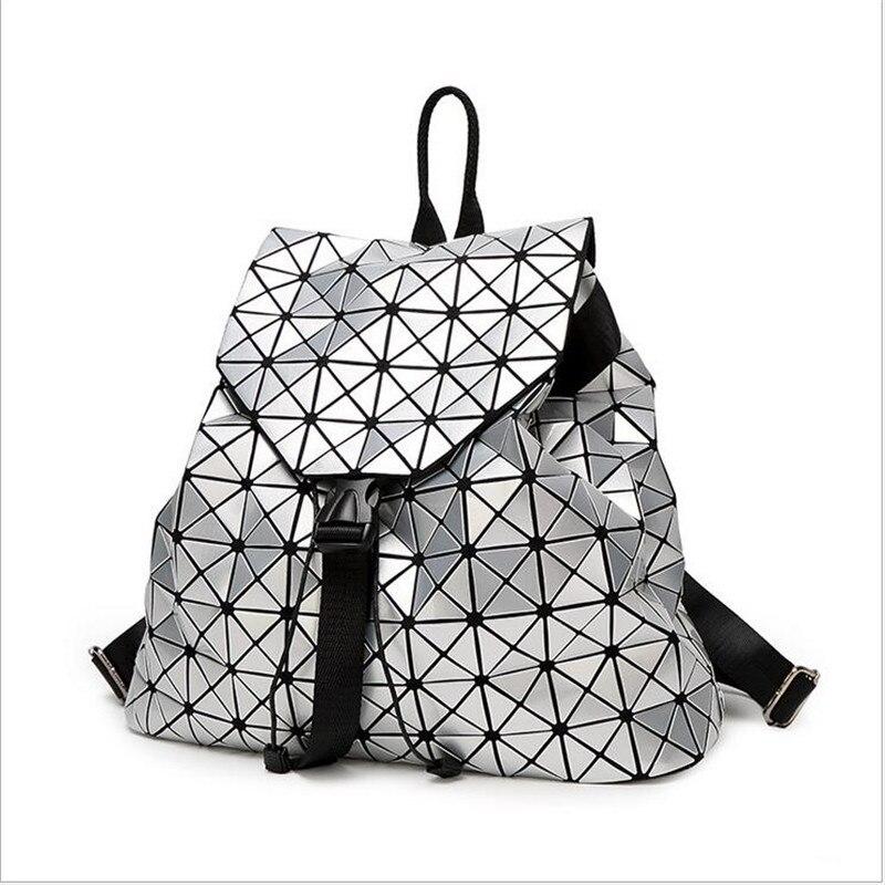 Bolish Women Backpack Feminine Geometric Plaid Sequin Female Backpacks For Teenage Girls Bag Drawstring Bag Holographic Backpack