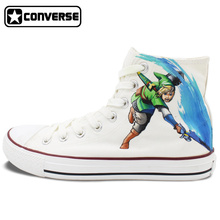 High Top Converse Chuck Taylor White Boys Girls Shoes The Legend Of Zelda Anime Design Hand Painted Sneakers Birthday Gifts
