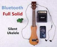 Гавайская гитара Сопрано 21 дюймов Электрический красного дерева мини, Bluetooth наушники Silent Гавайская гитара 4 Strings