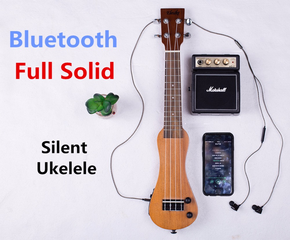 Ukulele Soprano 21 Inch Electric Mahogany Mini Full Solid Bluetooth Headphones Silent Hawaiian Guitar 4 Strings suerte 23 inch ukulele mahogany guitare ukulele 4 strings guitar music instrument electric ukulele rosewood hawaiian 23 black
