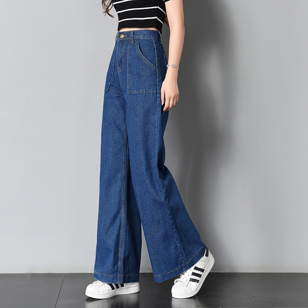 2019 Fashion Retro BF Style Wide Leg Jeans Women Pants High Waist Washed Loose Cotton Jeans Casual Flare Pants Denim Trousers