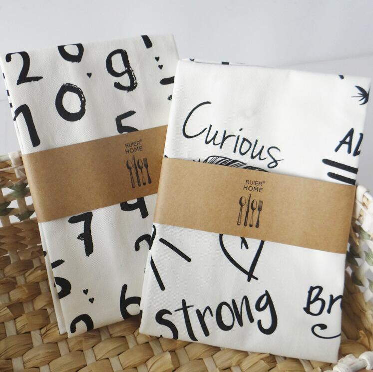 45x60 Cm Cijfers Letters Katoen Servet Servies Mat Keuken Handdoek Nordic Stijl Bakken 's Achtergrond