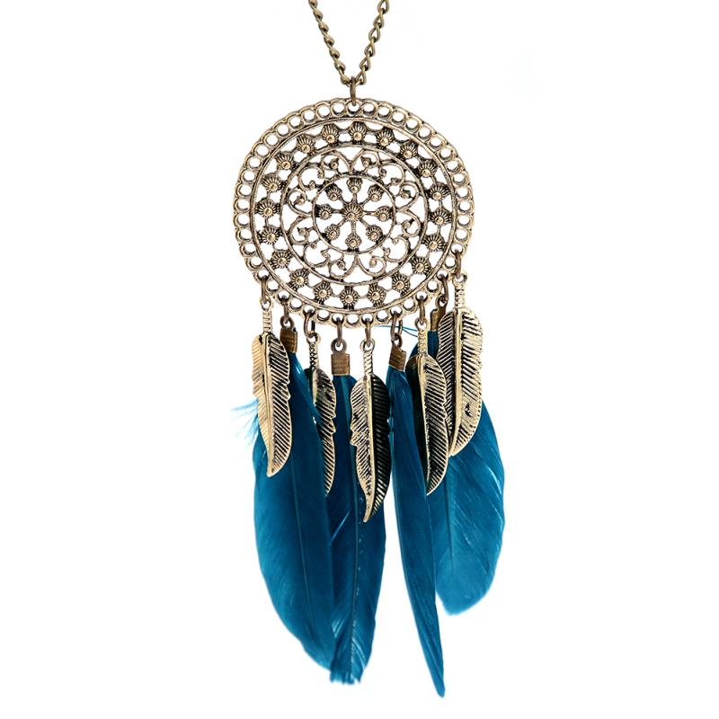 Hot Retro Alloy Blue / Black halskjede Dream Catcher Feather Pendant Halskjeder for kvinner Langkjede etniske smykker gave