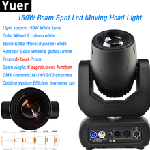 Yuer White LED Lamp 150W Beam Spot Moving Head Light  8-facet prism 6 degree with color wheel gobo wheel DMX DJ Disco Party Show new original projector color wheel for dell 1610hd 6 color