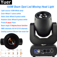 Yuer White LED Lamp 150W Beam Spot Moving Head Light 8 facet prism 6 degree with color wheel gobo wheel DMX DJ Disco Party Show