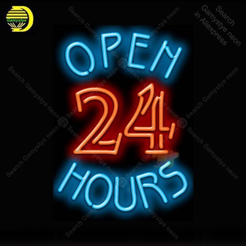 Enseigne au néon pour ouvert 24 heures néon lumière néon ampoule signe bière Bar affichage club hôtel artisanat verre tube lumière décorer lampes