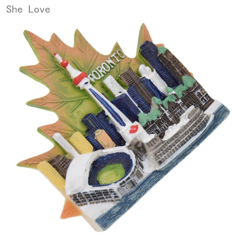 She Love Maple Leaf Of Toronto Canada 3D Fridge Magnet Decor Refrigerator Sticker Travel Gift