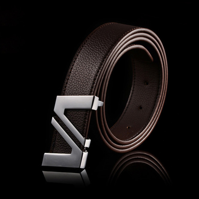 2015 cinturones hombre brand belts for men ceinture high quality faux leather Metal buckle leather belt men WBT200