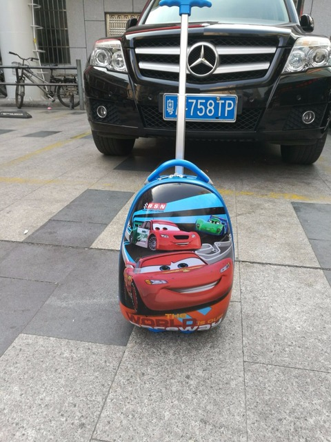 16inch Eggshell shape  fashion car rolling luggage children  cartoon  suitcase  luggage with rolls  EVA  travel suitcase wheel