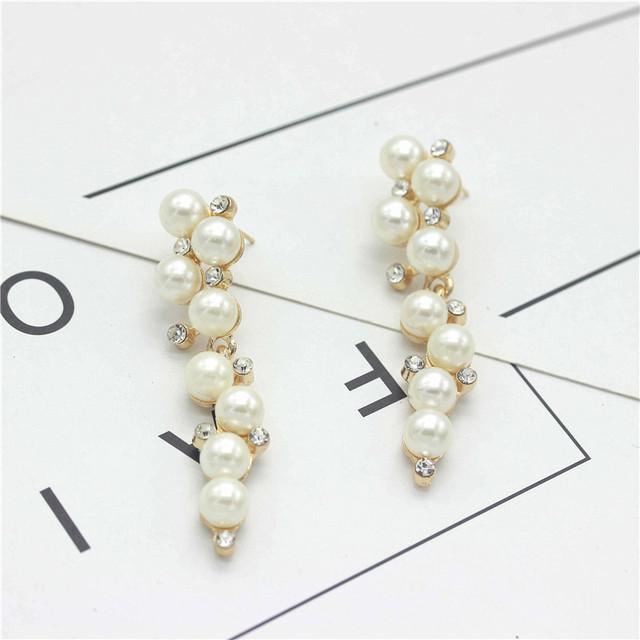 Elegant Crystal and Pearl Drop Long Earrings