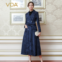 VOA Autumn Navy Solid blue Double Breasted Jacquard Wide-waisted Tailored Collar Long Straight Trench Coat FLH00701