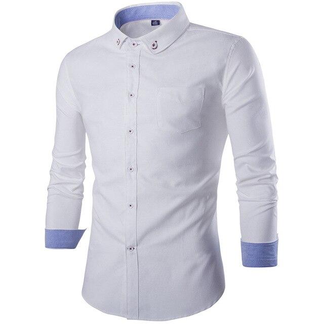 Nova Camisa Patchwork Gola de Design Dos Homens Camisas de Vestido Magros Dos Homens Casuais Elegantes Camisas de Manga Longa Marca Camisa Chemise Homme 18Y601