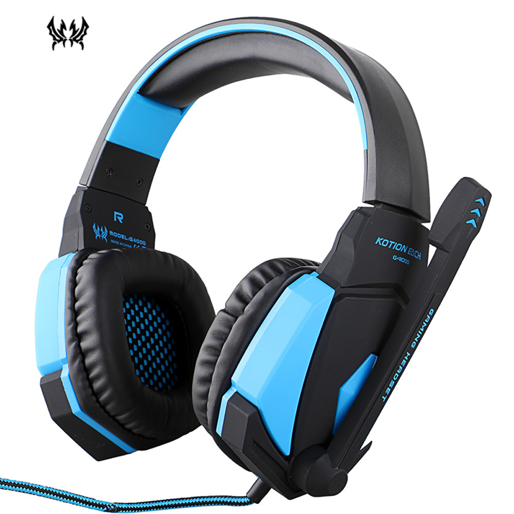 Original KOTION EACH G4000 USB Stereo Gaming Headphone Wired Headset with Microphone Volume Control LED Light for PC Gamer