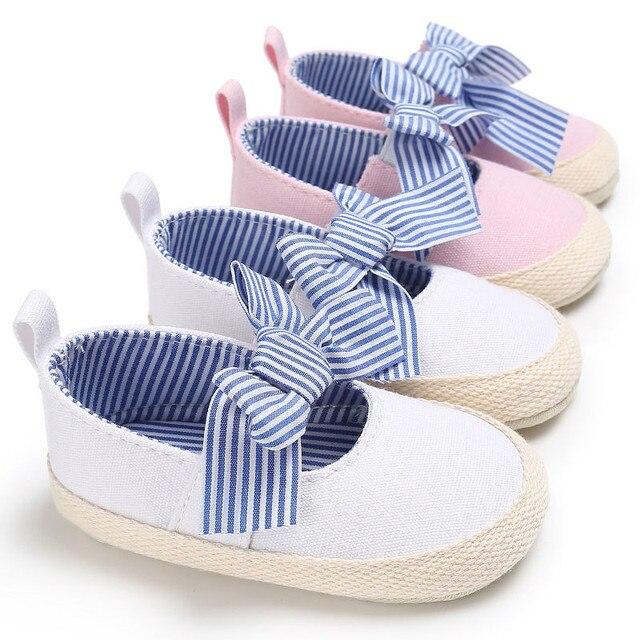 Beşik Ayakkabı Yaz Yenidoğan Toddler Bebek Kız Yumuşak Soled Rahat Pamuk Prenses Çizgili Beşik Ayakkabı 0-18 M