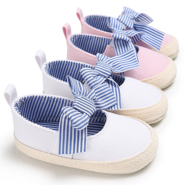 Crib Shoes Summer Newborn Toddler Baby Girls Soft Soled Casual Cotton Princess Striped Crib Shoes 0-18M