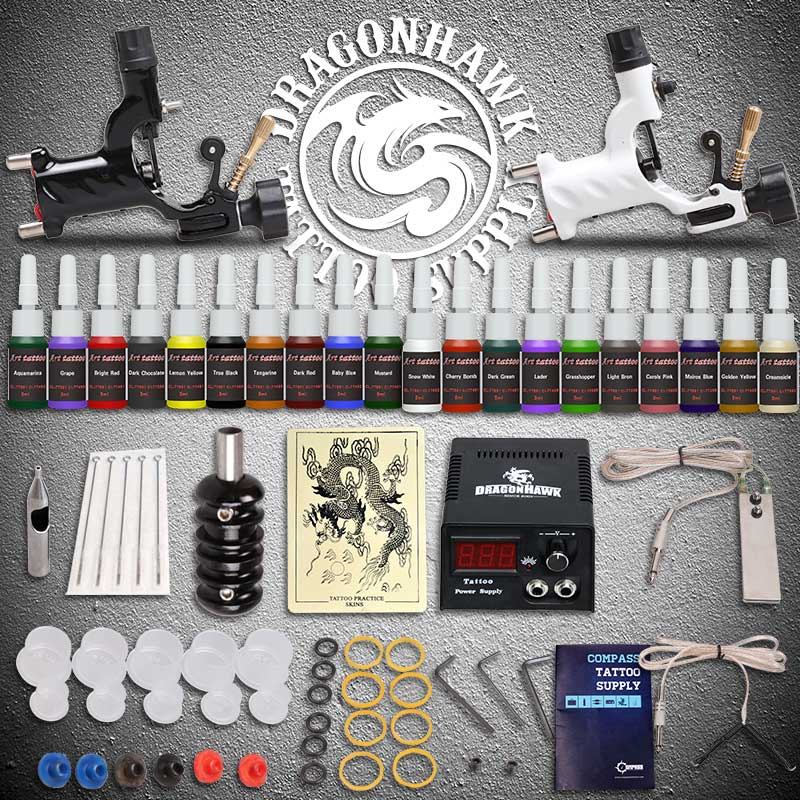 Beginner Tattoo Starter Kits 2 Rotary Tattoo Machines Guns 20 Ink Sets Power Supply Needles Top Tattoo Ink Free Shipping professional tattoo kits liner and shader machines immortal ink needles sets power supply