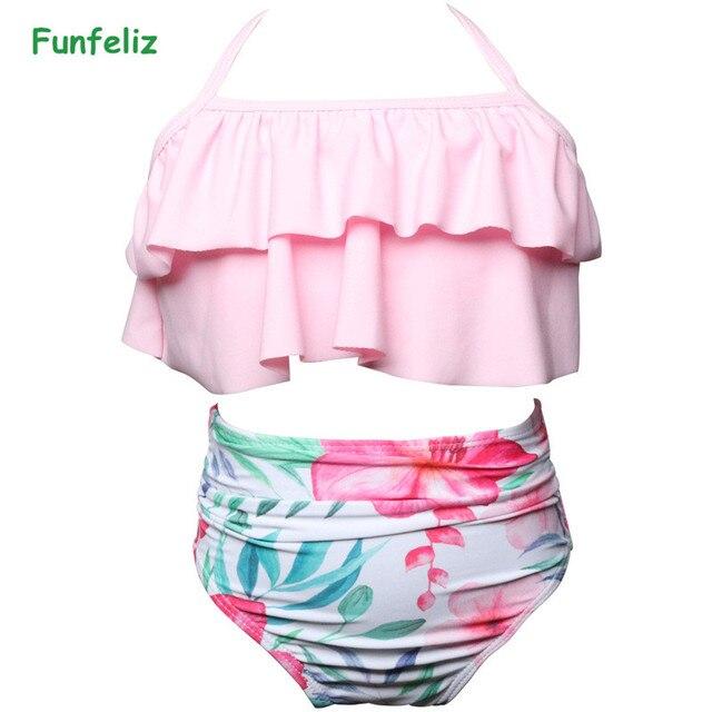 76663f5d446ca Funfeliz 2018 Girls Swimsuit Two Pieces Swimwear for Children Split Swim  Wear Baby Girl Swimming Suits