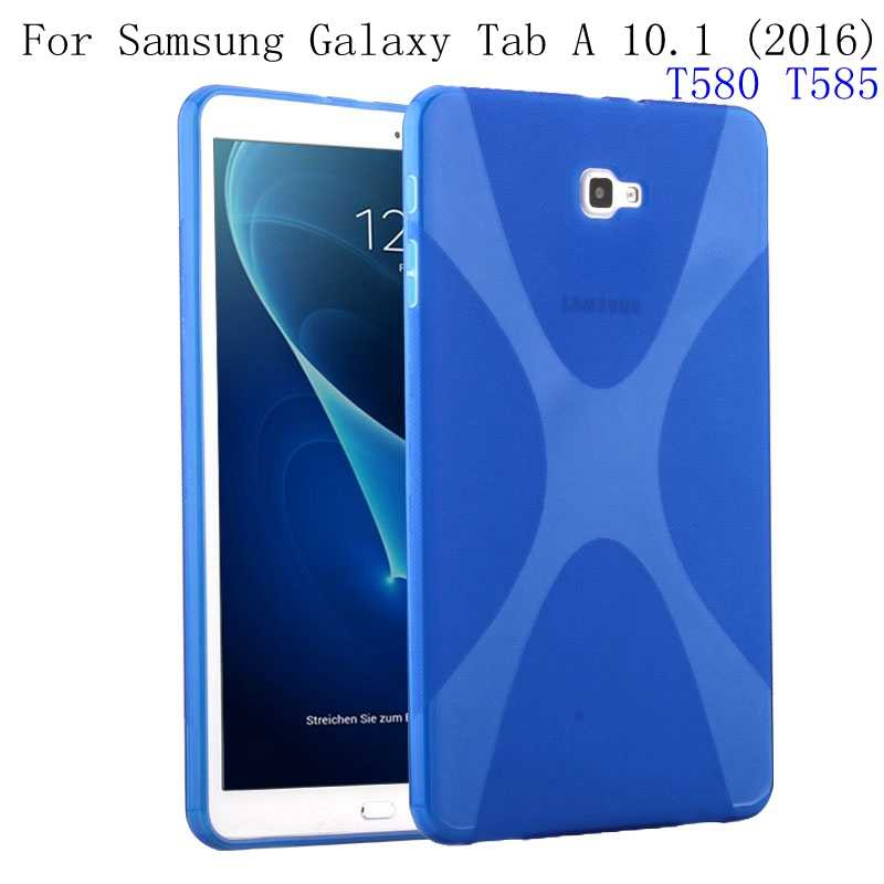 Case for Samsung Galaxy Tab A 10.1 2016 T580 T585, GARUNK X-Line Soft TPU Silicon Semi Transparent Clear Gel Cover for SM-T580