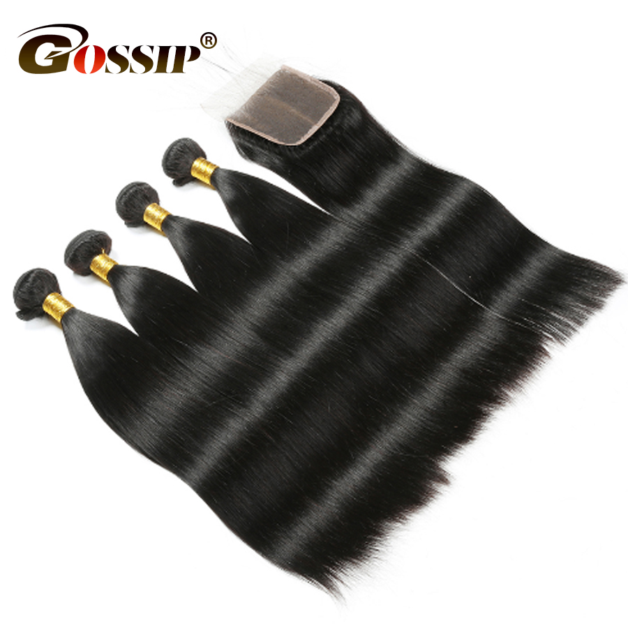 Malaysian Straight Hair 4 Bundles With Closure Malaysian Human Hair Bundles With Closure Gossip Lace Closure Non Remy Hair Weave