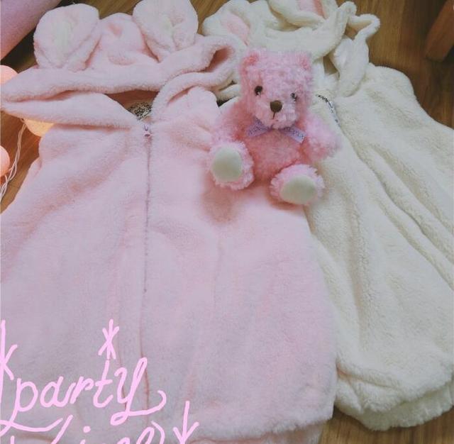 Super Cute Women's Faux Fur Pink Bunny Fluffy Hooded Vest Coat Winter Sleeveless Lolita Rabbit Ears Outwear Jacket Warm 2 Colors by Neko Para