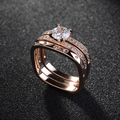 Highly Recommend Wedding Rings 3 Rounds CZ Diamond Square Ring Sets Rose Gold Plated Zircon Crystal Wedding Jewelry for Women