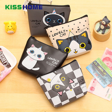 Mini Cute Animal Lovely Cat Coin Purse PU Leather Waterproof Card Pocket Money Key Wallet For Women Travel Protable Storage Bag
