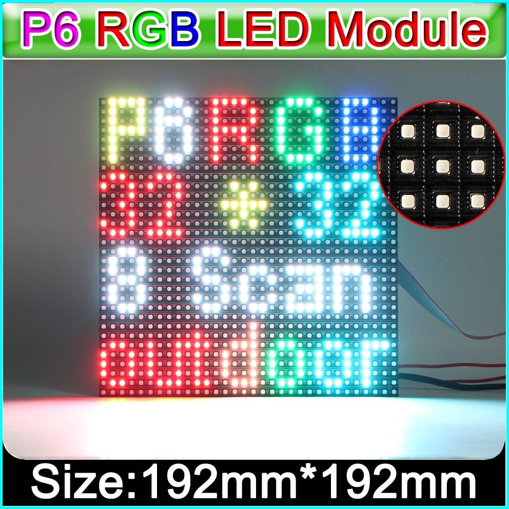 P6 Outdoor Full Color LED Display Module 1/8 Scan 192*192mm 32*32 Pixels,Outdoor Waterproof P6 RGB LED Display Panel